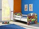 Clamaro 'Fantasia Weiß' 180 x 80 Kinderbett Set inkl. Matratze und Lattenrost, mit verstellbarem Rausfallschutz und Kantenschutzleisten, Design: 44 Lokomotive