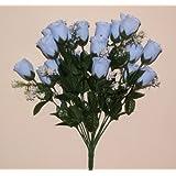 Permabloom - Mazzo di boccioli di rosa artificiali per matrimoni o tombe, 18 pezzi, colore: celeste