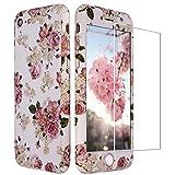 iPhone 8 Hülle Blumen, iPhone 7 Hülle 360 Grad mit Panzerglas, ZXK CO 3 in 1 Hart PC Hülle mit Panzerglas Full Body Komplettschutz Schutzhülle für iPhone 7/8 4,7