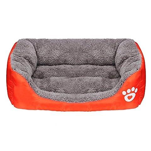 Panier Chien/chat Angelof Grand/Moyen/Petit Lavable Rectangle Panier Pour Chien Pet Dog Chat Lit Chiot Coussin Maison Soft Warm Chenil Matelas (L, Orange)
