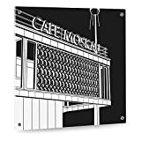 Top Qualität! Glas Küchenrückwand aus stabilem Sicherheitsglas (ESG) - Motiv: Café Moskau Berlin - Format 50 x 60 cm - stylischer Wandschutz und Spritzschutz für Herd, Küche und Kochbereich - mit Bohrlöchern (Punkthalterung)
