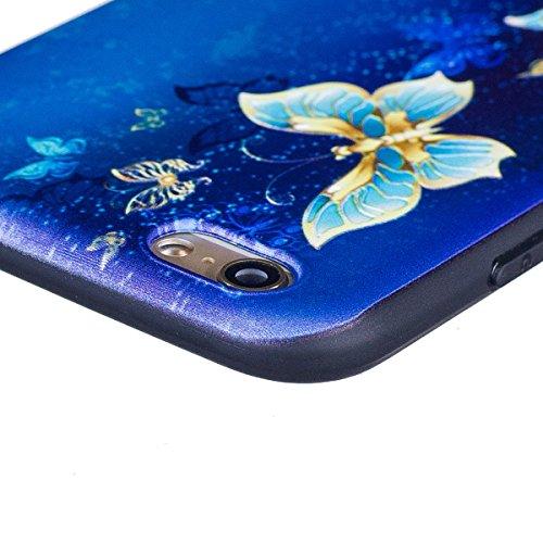 iPhone 6 Handyhülle,iPhone 6S Silikon Schutzhülle,iPhone 6/6S 4.7 Handyhülle,Hpory Flexible Soft TPU Colorful Painted Muster Ultra-thin Schwarz Silicone Gel Handyhülle Handy Gehäuse Hülle für Mädchen Goldschmetterling