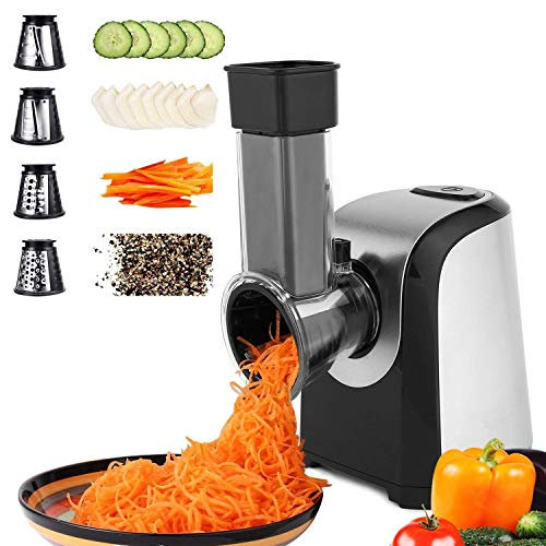 Hopekings tritatutto da cucina,tritatutto elettrico,tritatutto multifunzione 4 in 1,robot da cucina 200w,tritatutto per verdura,fresh express,nero d'argento