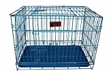 Sri Dog Cage with Removable Tray, Blue (39-inch)