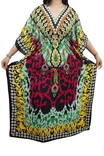 Indiatrendzs Women Kaftans Summer Viscose Floral Dashiki Cover Up Long Kaftan (Green-2)  available at amazon for Rs.382