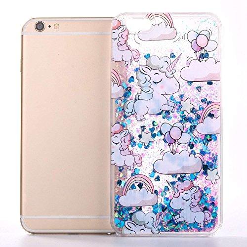 iPhone 7case, iPhone 7glitter case, Toyym 3D Funny Floating [Bling] [Liquid] custodia con Sparkle Love Stars Quicksand in, cartoon Unicorn pattern design, glitter Shinny lusso hard shell con bumper  Unicorn#3