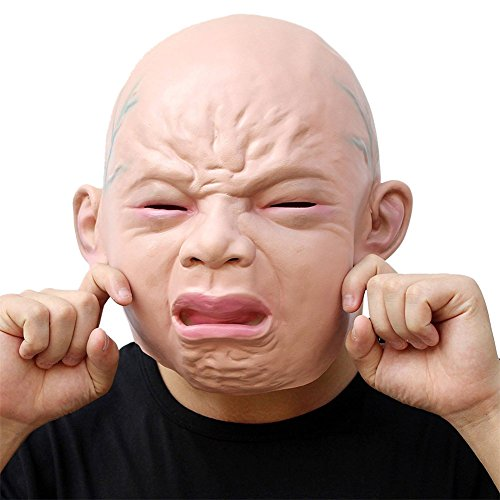 semen Maske Fasching Halloween-Kostüm Schrei Baby Voller Kopf Latex Maskerade Latex Horror Maske Full Head Erwachsene (Cry Baby)