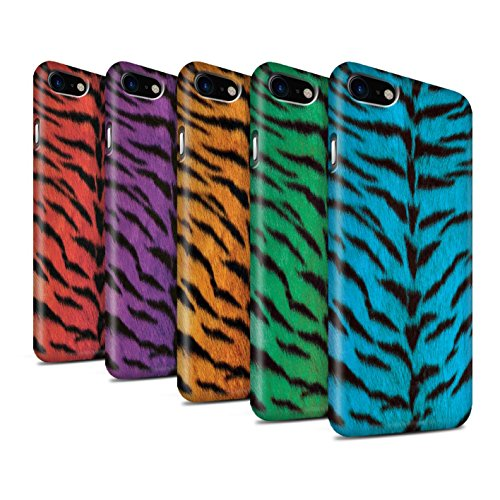STUFF4 Matte Snap-On Hülle / Case für Apple iPhone 8 / Blau Muster / Tiger Tier Haut/Print Kollektion Pack 5pcs