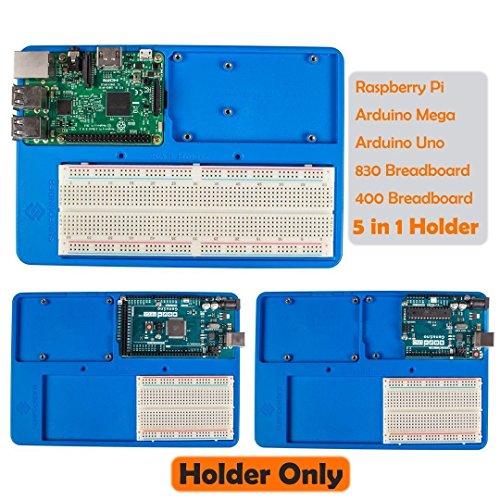 SunFounder-RAB-5-in-1-Breadboard-Holder-Base-Plate-Circuit-Board-Screws-for-Arduino-Uno-R3-Mega-2560-Raspberry-Pi-3-Model-B2-Model-B-and-1-Model-B-400-800-Points-Breadboard-Jumper-Dupont-Wires-