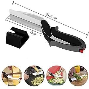 Kabi multifonctions Cuisine Chopper 2 en 1 Couteau de cuisine Ciseaux Hachoir à 2 en 1 planche à découper et couteau de cuisine Ciseaux Cutter,Remplacez vos couteaux de cuisine et planche à découper (Noir)