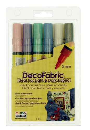 Uchida 222-6P 6-Piece Pearl Decofabric Marker Set by Uchida - Decofabric Marker