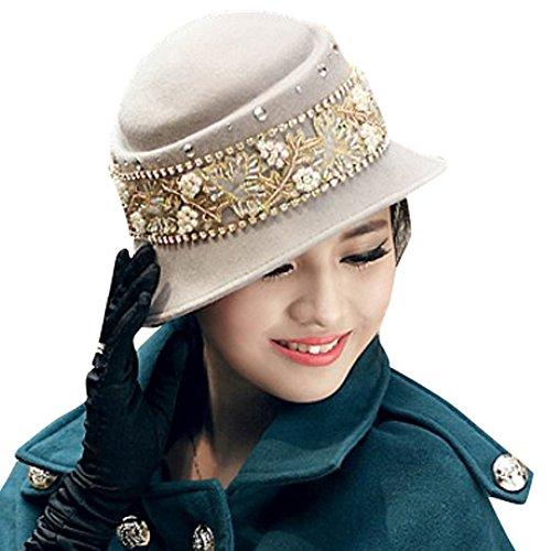 June's Young Damen-Hüte Winter Hut Filzhut eleganter Hut mit Stein,Schmuck Fedora Trilby - Outdoor-winter-hüte Damen