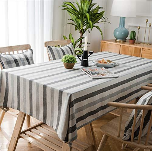 Wjydp tovaglia rettangolare grigia a righe tovaglia da cucina tovaglia per hotel ristorante tovaglia tovaglia,140x160cm