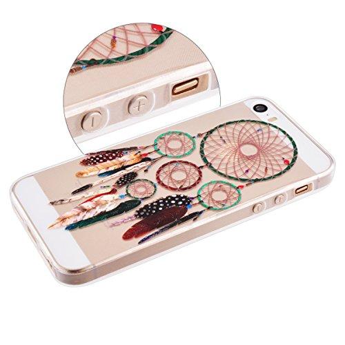 SMARTLEGEND Ultra Slim TPU Handy Tasche für iphone 5 5s Weich Case Schön Design Muster Hülle Flexible Transparent Material Soft Schutzhülle - Feathers Traumfänger und Federn