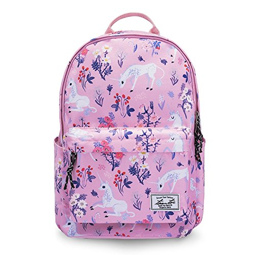 Tomtoc 14 Pouces Sac à Dos College pour Femmes Filles, Sac d'Ordinateur Sac de Voyage Sac Cartables Sac de Week-end en Plein Air - s'Adapte jusqu'à 15 Pouces MacBook, Rose Licorne