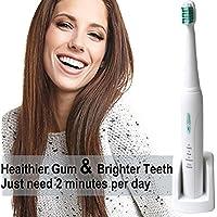 [2018 nueva versión] Cepillo de dientes Sonic recargable eléctrico-con 3 modos opcionales, 3 cabezas del reemplazo, base de carga sin hilos, estructura en el contador de tiempo de 2 minutos, cepillo de dientes Sonic impermeable, dentistas recomiendan dos semanas que trabajan (azul)
