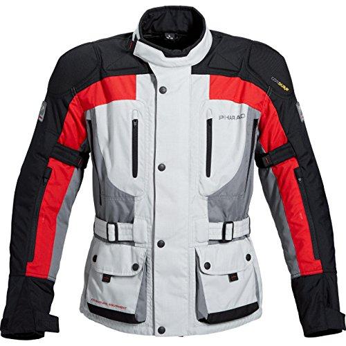 Pharao Chaqueta de la Motocicleta Reise Textiljacke 1.0 Grau/Rot M, Caballeros, Enduro/Reiseenduro,...