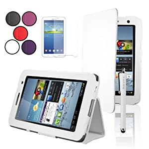 """SAVFY® Samsung Galaxy Tab 2 7.0 Leather Case Cover and Flip Stand, Bonus: Screen Protector + Stylus Pen + Clean Cloth (for Galaxy Tab 2 7"""" INCH P3100 P3110) (flip stand WHITE)"""
