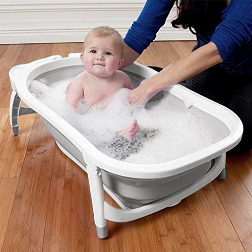Karibu Baby Folding Bath Fold Away Bathtub - White Grey