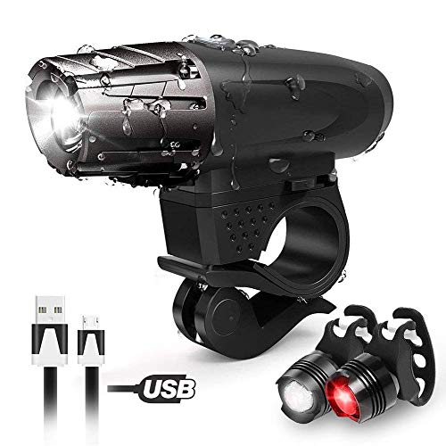 Ubegood Lampe Vélo, USB Lampe Velo Kit...