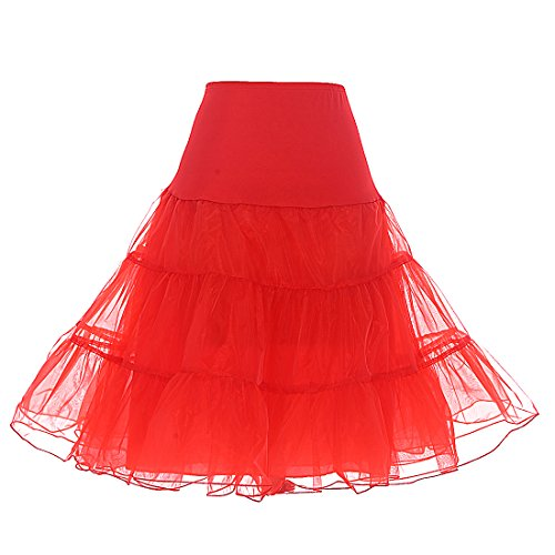 Dresstells 1950 Petticoat Reifrock Unterrock Petticoat Underskirt Crinoline für Rockabilly Kleid Red S