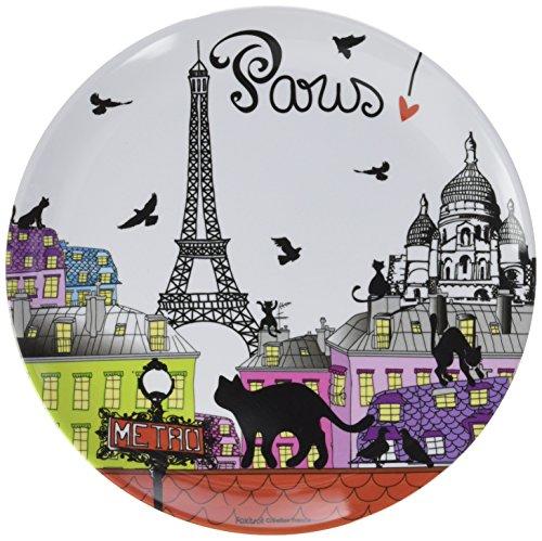 Fox Trot 3117TOIT Assiette Motif Chat Toit Paris Mélamine 20 cm
