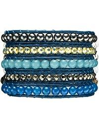 Rafaela Donata Damen-Armband Leather Collection Leder blau Hämatit grau Perlen blau / hellblau Kunststoffbeads silberfarben / anthrazit 60831009
