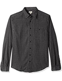Haggar Men's Big and Tall Long Sleeve Sueded Effect Microfiber Shirt, Black Plaid, LT