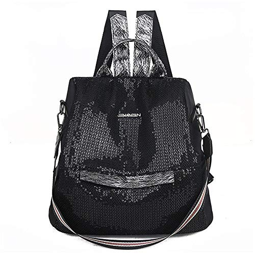 Backpack New Luxury Backpack Female Designer Fashion Wild Female Backpack Non-Woven Sequins Casual Bag Large Capacity,B