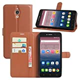HualuBro Alcatel Pixi 4 (6 Zoll) 3G Hülle, Leder Brieftasche Etui Tasche Schutzhülle HandyHülle [Standfunktion] Lederhülle Flip Case Cover für Alcatel OneTouch Pixi4 6.0 Zoll 3G 8050D (Braun)