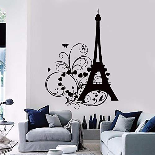 guijiumai Vinile Adesivo Torre Eiffel Cuori e Fiori Romantico Bellissimo Soggiorno Adesivi per la Decorazione della casa F 8 57X83 CM