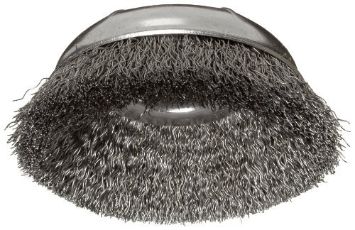 Weiler Wire Cup Brush, Threaded Hole, Steel, Crimped Wire, 3-1/2 Diameter, 0.014 Wire Diameter, 5/8-11 Arbor, 7/8 Bristle Length, 12000 rpm (Pack of 1) by Weiler -