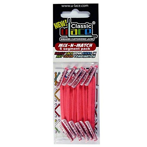 Pack Rose Fluo 2 sachets lacets élastiques U-LACE (NEON PINK)