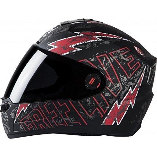 Steelbird Matt finish Helmet SBA-1 Free Live with Plain Visor + Extra Tinted Visor ( Smoke ) (Medium - 58 Cms, Black with Red)