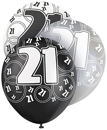 12 Latex Glitz Black And Silver 21st Birthday Balloons Pack Of 6