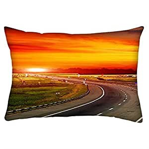 """Snoogg The Way To Sunset Rectangle Toss Throw Pillow Cushion Cover Decoarative Pillow Case 14 x 7"""""""
