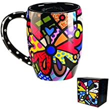 Romero Britto Round Butterfly Mug Cup Coffee Drink Tea Ceramic Giftcraft Decor ! by Romero Britto
