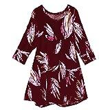 SEWORLD Oberteil Bluse Elegant Kleid Damen Damenmode Damen Vintage Tunika Blumendruck Langarm V-Ausschnitt Mieder Bluse Shirt Tops(Y3-Wein,EU-34/S)