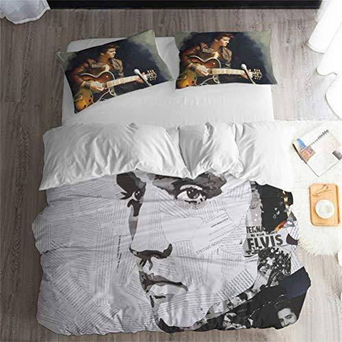 Beatles Elvis Rock Band Musik Serie Bettwäsche Set - Bettbezug und Kissenbezug, dreiteilige Bettwäsche (Bettbezug + 2 Kissenbezüge) feuchtigkeitsfest, hypoallergen, Elegant, Gesunde, 1.5-2M Bett (Musik-bettwäsche)
