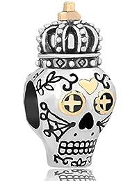 Uniqueen joyería calavera con corona chapado en oro colgantes compatible con Pandora, Biagi y pulseras de Troll