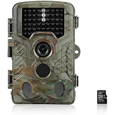 Docooler 12MP Macchina Fotografica di Caccia HD 1080P Sentiero di Gioco Cam 125 ° PIR Grandangolare Carta di Infrarossi di Visione Notturna + 8GB MicroSD TF 48MB / s