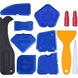 12 Pièces Ensemble d'Outils de Calfeutrage en Silicone KitLisseurs de Joints Dissolvant de Calfeutrage et Buse de Calfeutrage et Bouchons de Calfeutrage (Bleu)