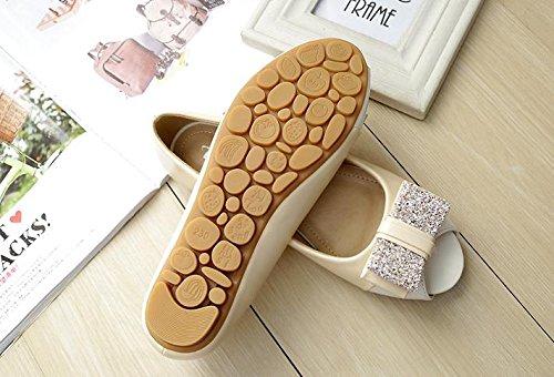 &huo Chaussures de bouche de poisson femme, sandales à talons plats ouverts, chaussures simples avec chaussures plates, de grande taille 42