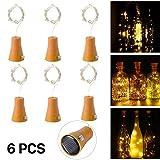 6pcs 10 LED Solar Botella de Vino de Corcho Luz de Hadas con Cable de Cobre de 1 m Forma de la Lámpara de la Barra para la Botella de Bricolaje, Fiesta, Decoración del Hogar, la Boda y Halloween (Blanco cálido)