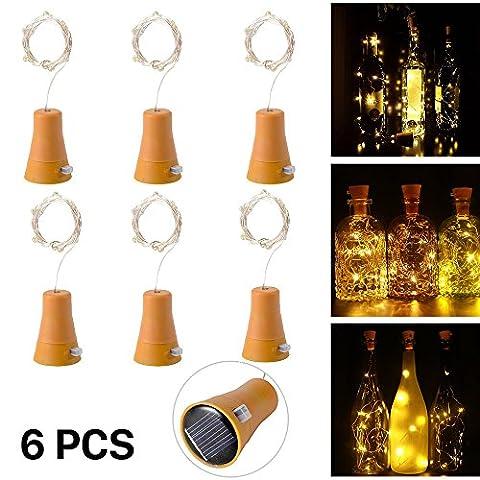 6pcs 10 LED de bouteille de vin de liège solaire en liège avec 1M de fer en cuivre en forme de lampe de bar pour bouteille bricolage, fête, décoration intérieure, mariage et Halloween (blanc chaud)