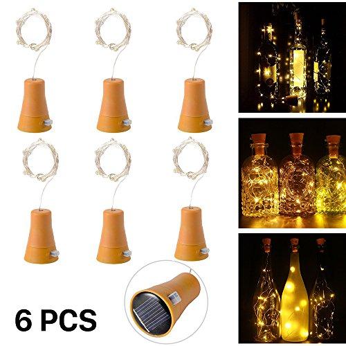 6 Stück 10 LED Solarenergie Flaschenlichter Lichterketten mit 1M kupferner Draht-Form-Stablampe für Flasche DIY, Partei, Hauptdekor, Hochzeit und Halloween (warmes (Dekorationen Cool Halloween)
