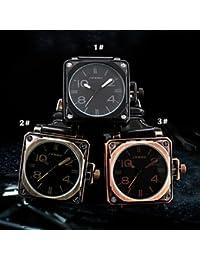 Relojes Hermosos, Sinobi®big plaza de bronce de línea antiguos hombres de relojes de lujo de la marca de moda casual negro pu le ( Color : 1# )