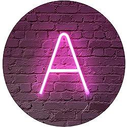 Rosa Neon Brief Leuchtreklamen Zeichen Nachtlicht LED Festzelt Buchstaben Neon Kunst Dekorative Lichter Wanddekor für Kinder Baby Zimmer Weihnachten Hochzeit Dekoration (A)