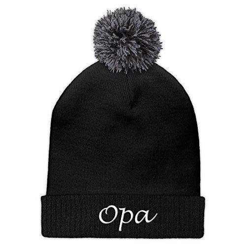 Pudelmütze mit Namen Opa bestickt - Farbe Schwarz - personalisierte Mütze,...