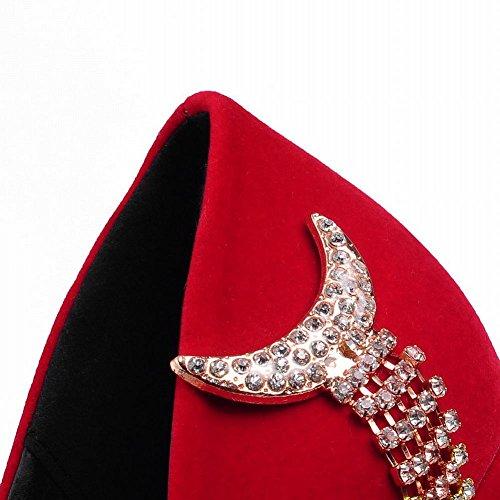 Mee Shoes Damen hidden Plateau high heels mit Strass runde Pumps Rot
